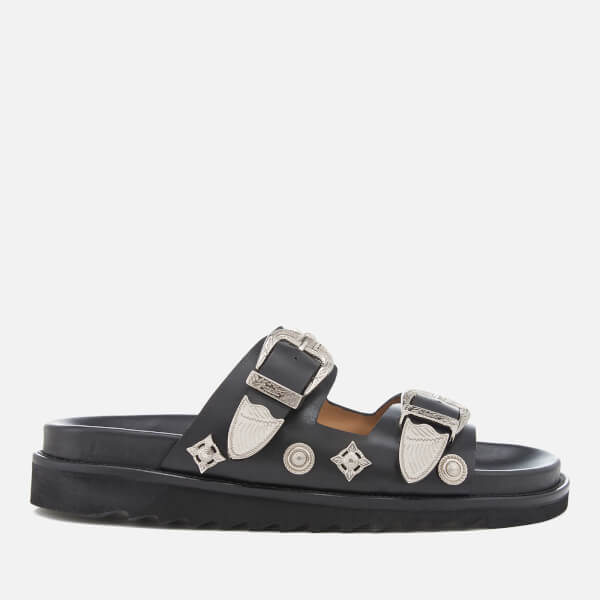 Toga Pulla Women's Leather Double Strap Flat Sandals - Black