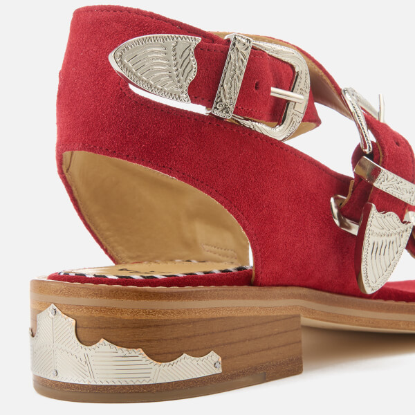 2df0cbb584a638 Toga Pulla Women s Suede Strappy Flat Sandals - Red  Image 4