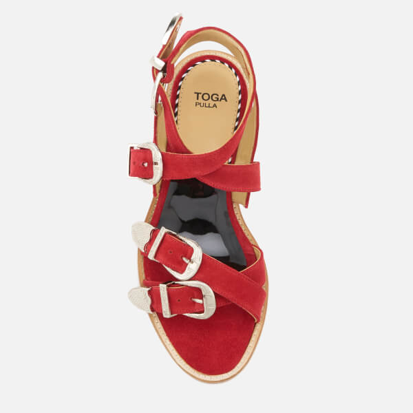ae78f46bcaf8c1 Toga Pulla Women s Suede Strappy Flat Sandals - Red  Image 3