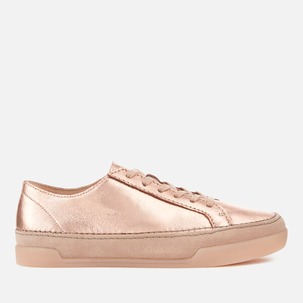 Clarks Women's Hidi Holly Leather Cupsole Trainers - Rose Gold