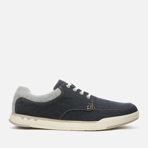 Clarks Men's Step Isle Lace Canvas Boat Shoes - Navy