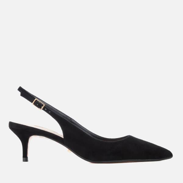 df7d3f6a1107 Dune Women s Casandra Suede Kitten Heeled Court Shoes - Black Womens ...