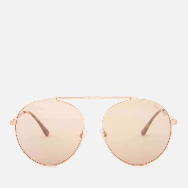065fd3ff55 Tom Ford Women s Simone Aviator Style Sunglasses - Rose Gold Brown Mirror   Image 1