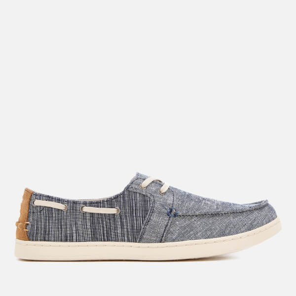 a08058a59ce TOMS Men s Culver Chambray Boat Shoes - Navy  Image 1
