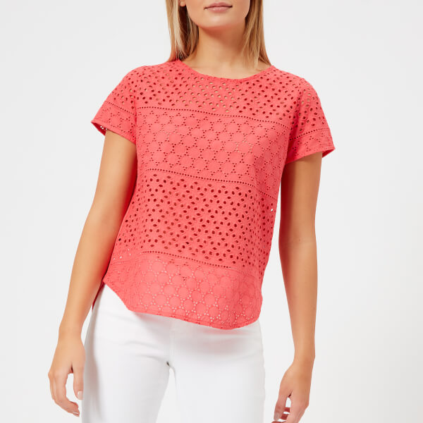 5cd5fab050b6 Joules Women s Nadine Broderie Front Top - Red Sky Womens Clothing ...