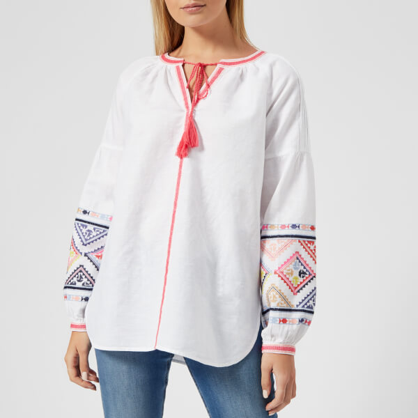 Joules Women's Yolanda Long Sleeve Embroidered Shirt - Bright White