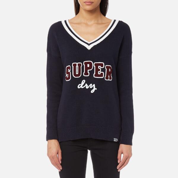 Superdry Women s Super Logo V-Neck Knitted Jumper - Navy. View large image 9f4f4ef7fe2f