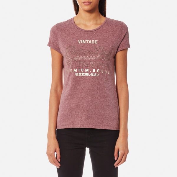Superdry Women's Premium Goods R'Stne Entry T-Shirt - Lodge Burgundy Marl