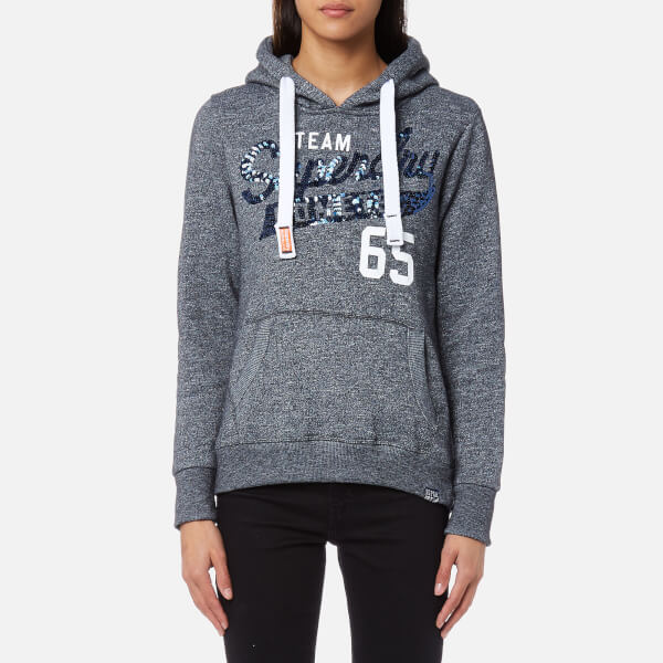 Superdry Women's Team Comets Sequin Hoody - Eclipse Navy Grindle