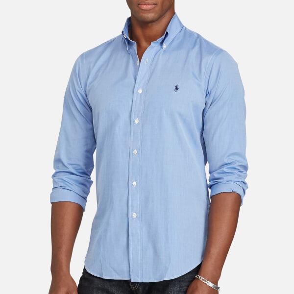 Polo Ralph Lauren Men's Cotton Poplin Slim Long Sleeve Shirt - Medium Blue /White: