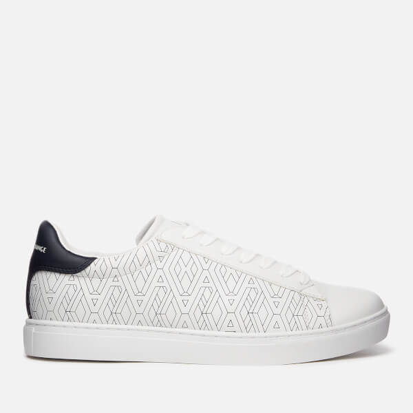 Armani Exchange Men's Low Top Trainers - AX Geometric White