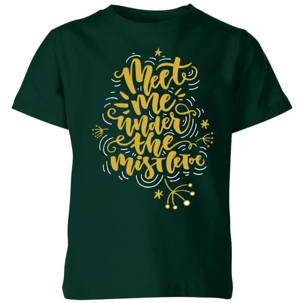 Meet Me Under The Mistletoe Kids' T-Shirt - Forest Green