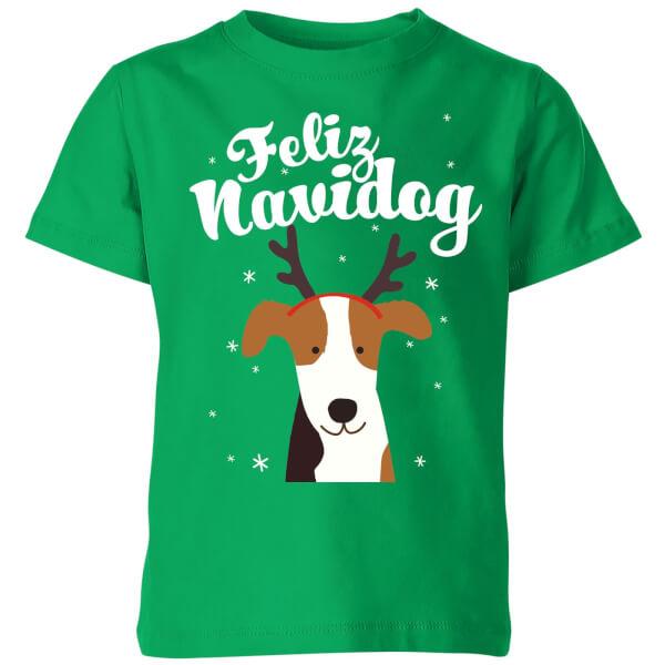 Feliz Navidog Kids' T-Shirt - Kelly Green