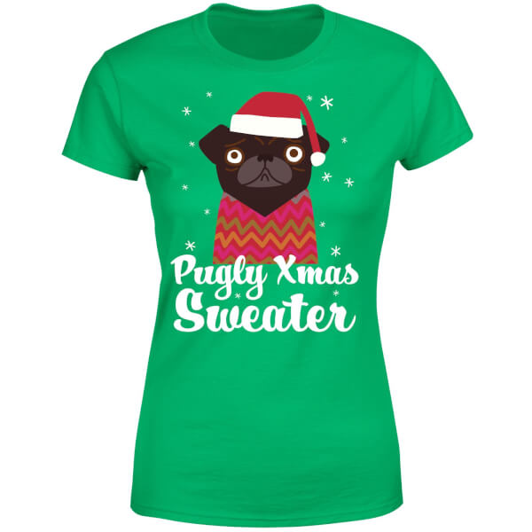 Pugly xmas Sweater Women's T-Shirt - Kelly Green