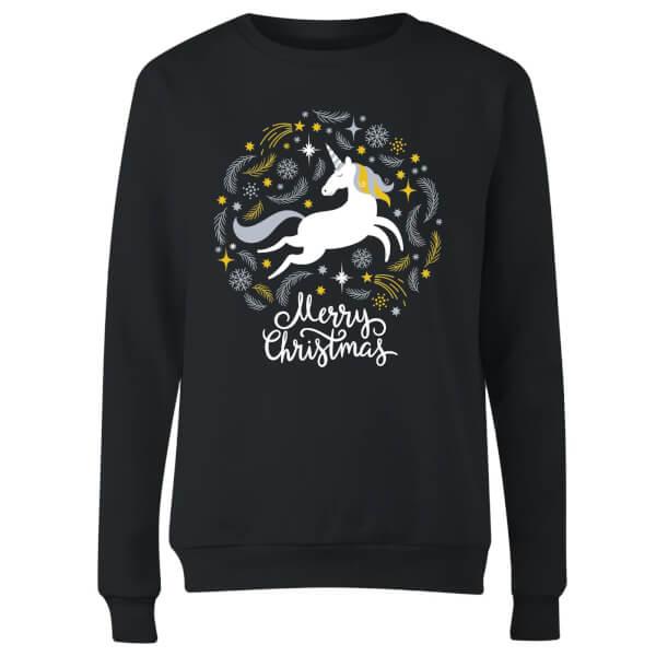 Unicorn Christmas Women's Sweatshirt - Black