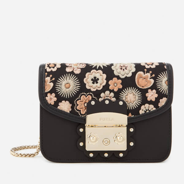 Furla Women's Metropolis Arabesque Mini Cross Body Bag - Black/Orange