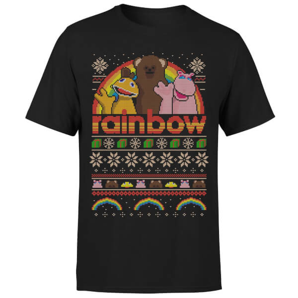 Rainbow Christmas T-Shirt - Black
