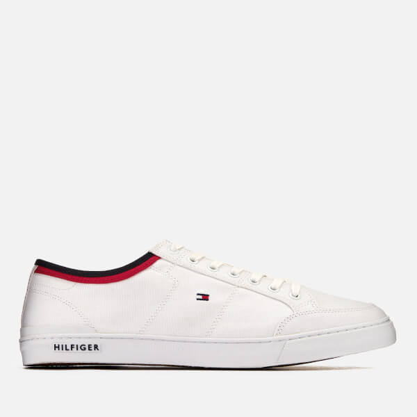 318a7beb2 Tommy Hilfiger Men s Core Corporate Canvas Trainers - White  Image 1