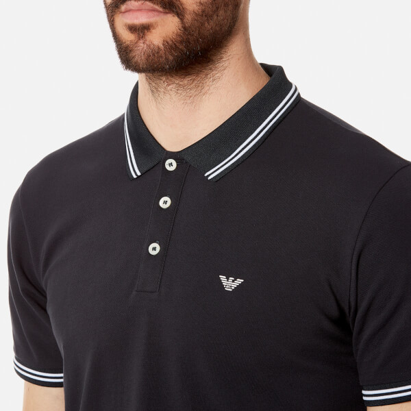 Men's Uk Free Emporio Tipped Scuro Shirt Polo Blue Armani CRaRxHw4