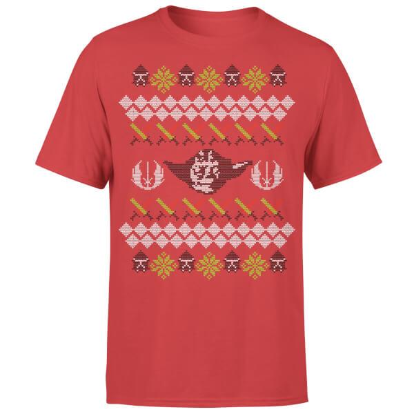 star wars christmas yoda face sabre knit red t shirt
