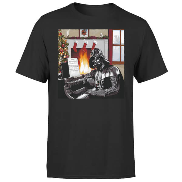 Star Wars Christmas Darth Vader Piano Player Black T-Shirt