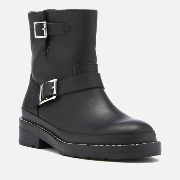 ed06ea57cb29 Hunter Women s Original Leather Biker Boots - Black  Image 2