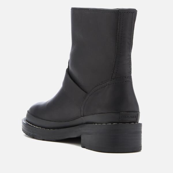 4d94ac03f64e Hunter Women s Original Leather Biker Boots - Black Womens Footwear ...