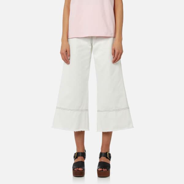 MSGM Women's Wide Leg Trousers - White