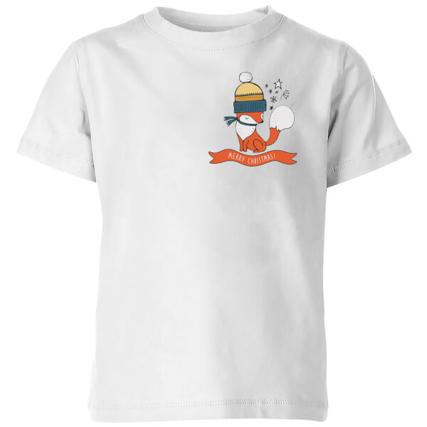Christmas Fox Pocket Kids' T-Shirt - White