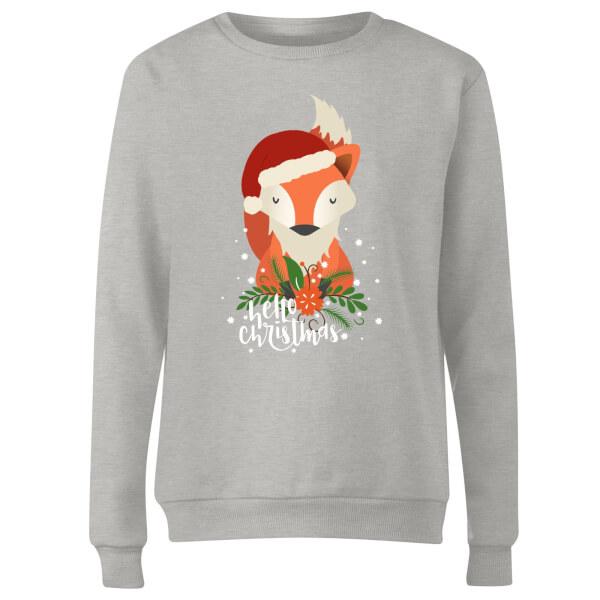 Christmas Fox Hello Christmas Women's Sweatshirt - Grey