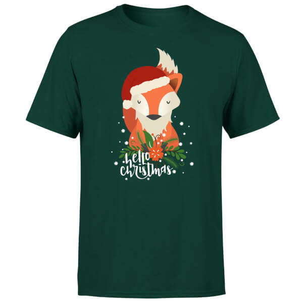 Christmas Fox Hello Christmas T-Shirt - Forest Green