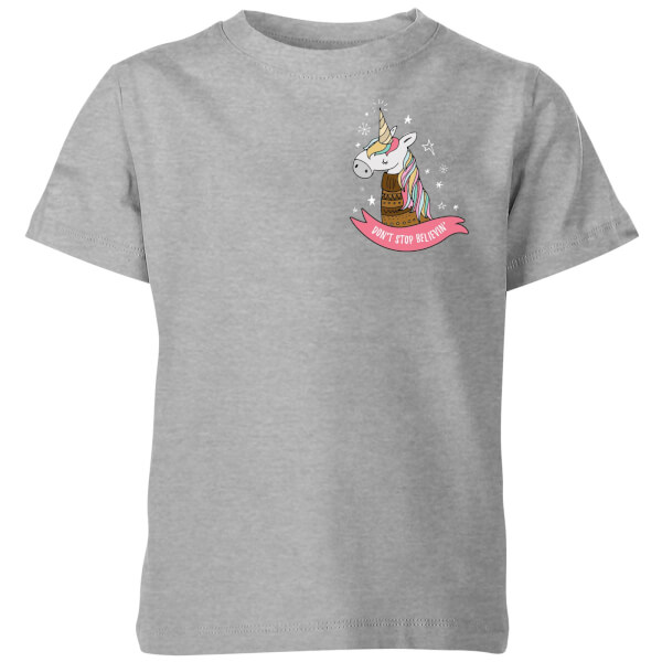 Christmas Unicorn Pocket Kids' T-Shirt - Grey