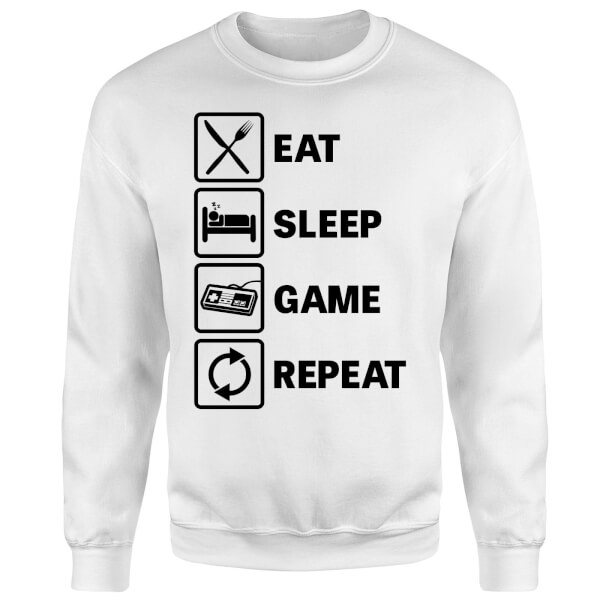 Eat Sleep Game Repeat Sweatshirt - White