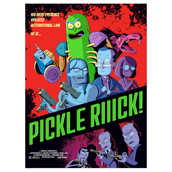 """Rick & Morty Pickle Rick Lithograph Print By Serban Cristescu (18""""x24"""") – Zavvi Exclusive Limited To 300 Pieces"""