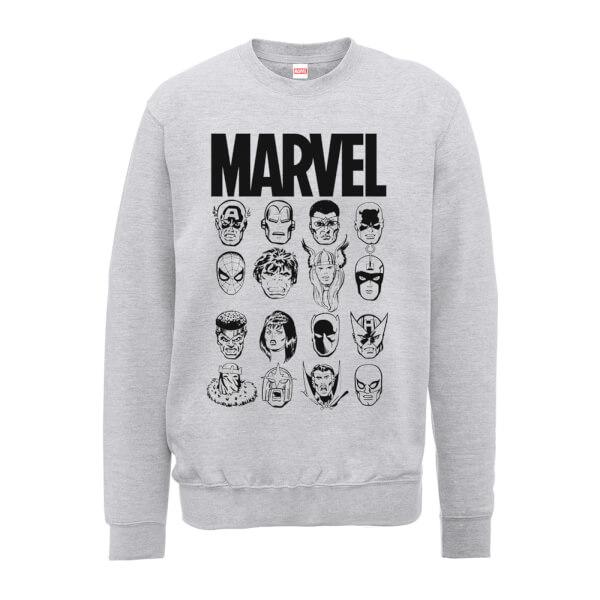 Marvel Multi Heads Men's Grey Sweatshirt