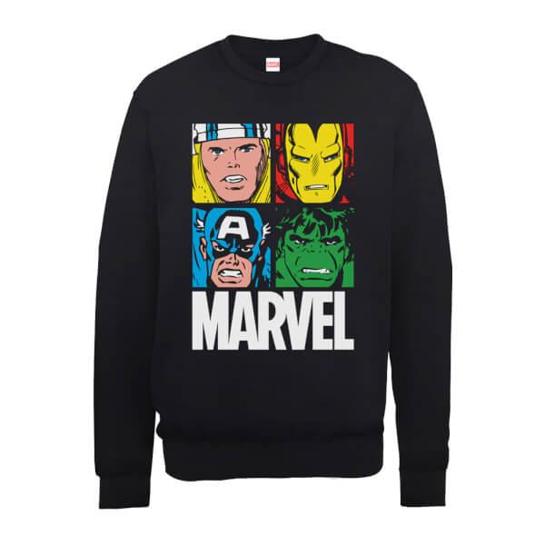 Marvel Multi Colour Main Tile Men's Black Sweatshirt
