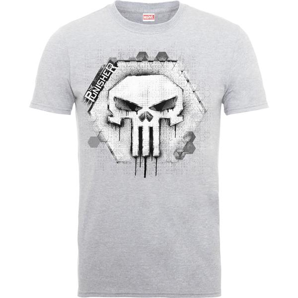 Marvel The Punisher Skull Badge Men's Grey T-Shirt