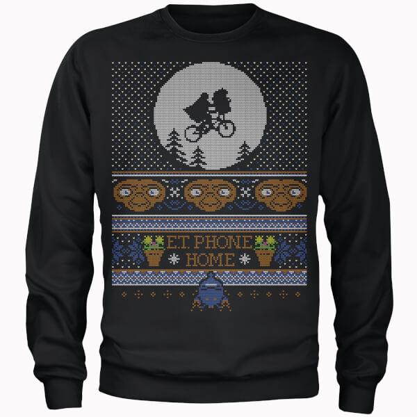 E.T Phone Home Fairisle Men's Christmas Sweatshirt - Black