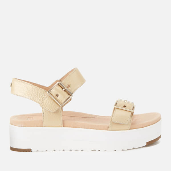 UGG Women's Angie Double Strap Flatform Sandals - Gold