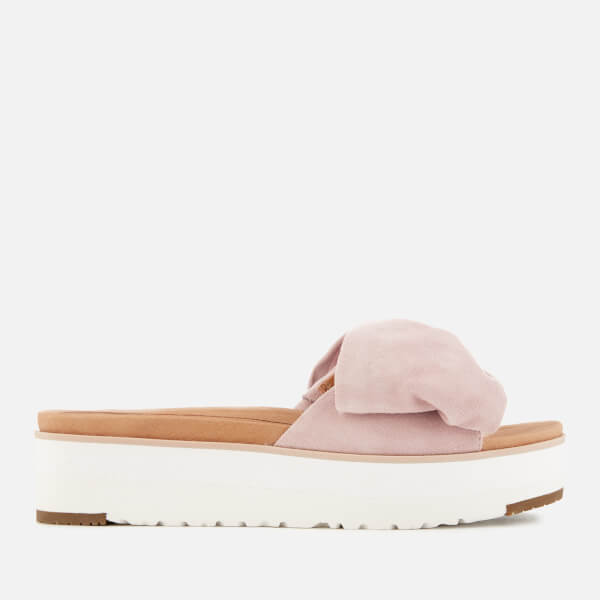 UGG Women's Joan Suede Bow Flatform Slide Sandals - Seashell Pink