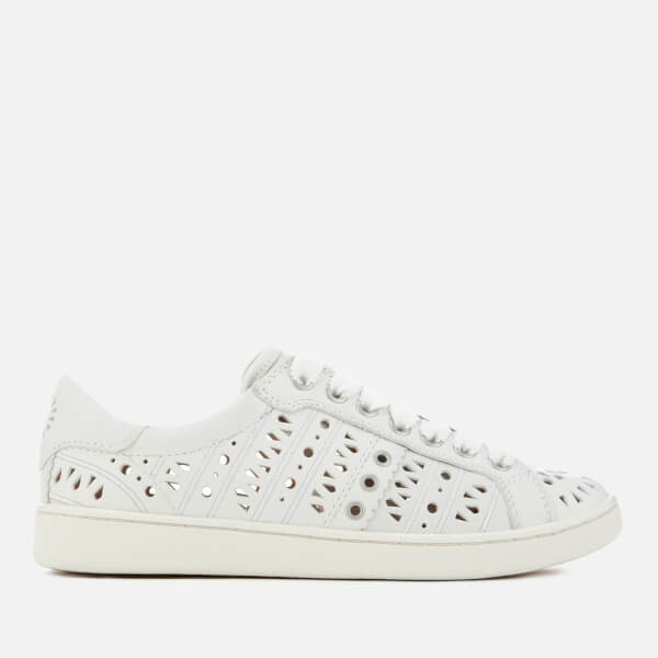 UGG Women's Milo Perf Leather Cupsole Trainers - White: Image 1
