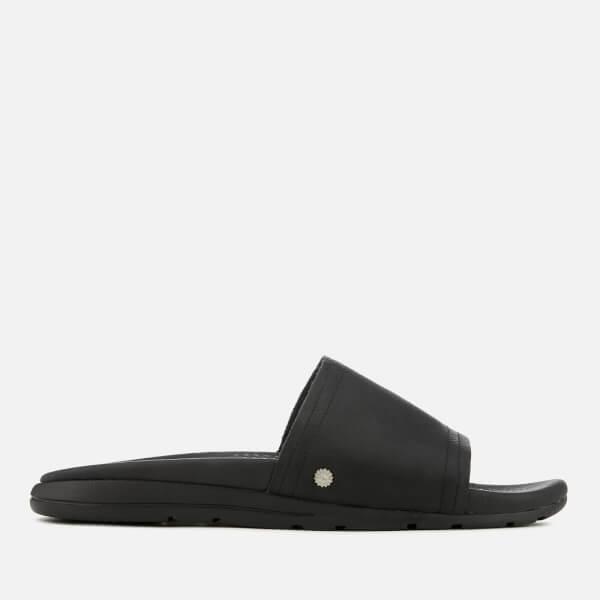 UGG Men's Xavier Luxe Leather Slide Sandals - Black