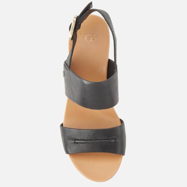 03825bb5546 UGG Women s Elena II Double Strap Wedged Sandals - Black Womens ...