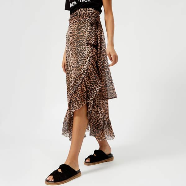 ganni leopard nederdel