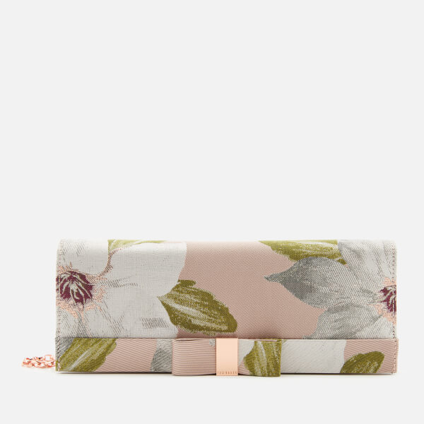 Ted Baker Women's Korri Chatsworth Bloom Satin Clutch Bag - Nude/Pink