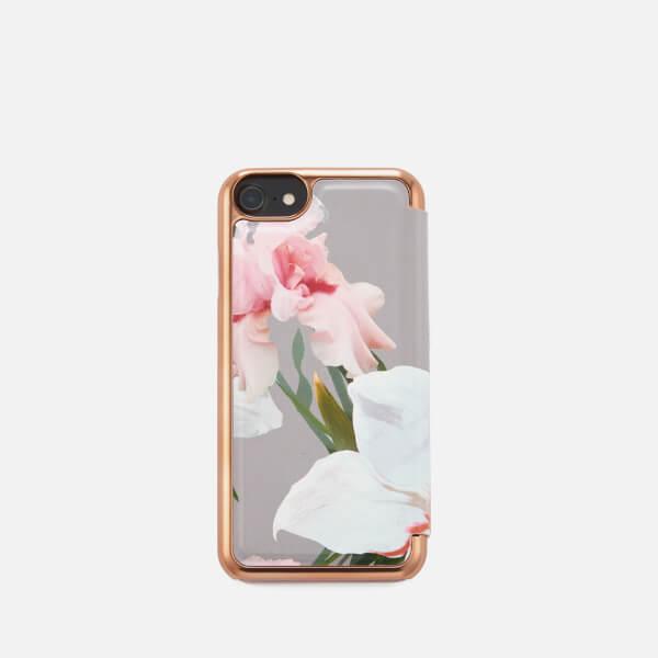 Ted Baker Women's Rosamon Chatsworth Bloom Mirror iPhone Case - Mid Grey