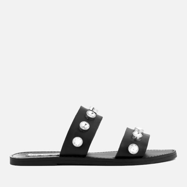 303f02b2d7c Steve Madden Women s Jessy Leather Double Strap Sandals - Black  Image 1