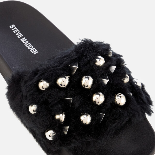 14ed3bc2aa1 Steve Madden Women s Yeah Faux Fur Slide Sandals - Black  Image 4