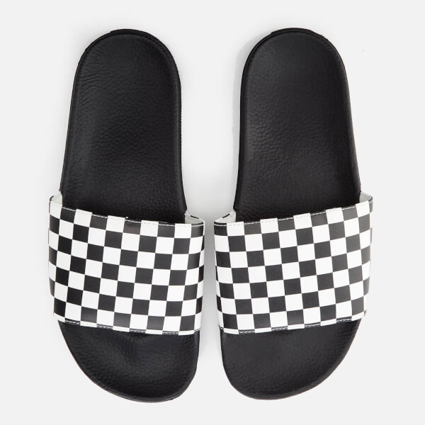 13ac092f9b Vans Men s Checkerboard Slide Sandals - White  Image 1