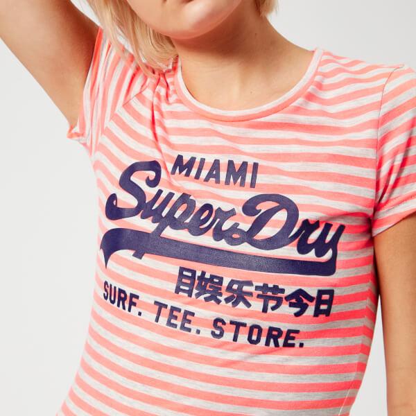 Superdry Women's Vintage Logo Stripe Entry T-Shirt - Fluro Coral